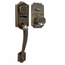 Weslock Colonial 1411 handleset with Eleganti Knob Antique Brass
