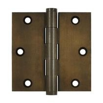 "Deltana 3 1/2"" x 3 1/2"" Square Corner Solid Brass Distressed Hinges DSB35"