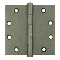 "Deltana 4 1/2"" x 4 1/2"" Square Corner Solid Brass Distressed Hinges"