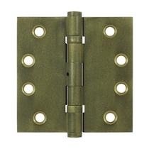"Deltana 4"" x 4"" Square Corner Ball Bearing Brass Distressed Hinges NRP DSB4NB"