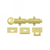 "Deltana 6SB 6"" Surface Bolt shown in Polished Brass (US3)"