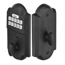 Emtek E1001 Sandcast Bronze Keypad Deadbolt shown in Flat Black