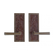 "Rocky Mountain E110, E112, E113 3"" x 8"" Designer Escutcheon w/ Tapestry Leather"