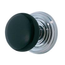Emtek Ebony Door Knob Set With Regular Rosette Polished Chrome (US26)