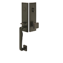 Emtek 4814 Zeus Handleset with Square Brass Knob Oil Rubbed Bronze
