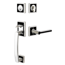 Emtek L4820 Martinique Handleset with Onyx Black Insert
