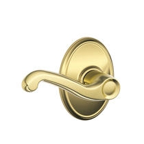 Schlage Flair Lever with Wakefield Decorative Rose in Bright Brass (605)