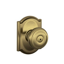 Schlage F40GEO609CAM Georgian Privacy Door Knob Set with Camelot Rose