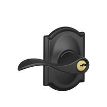 Schlage Accent Lever with Camelot Decorative Rose in Matte Black