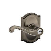 Schlage F51FLA620CAM Flair Keyed Entry Lever Set with Camelot Rose