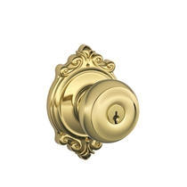 Schlage F51-GEO-BRK-505 Georgian Keyed Entry Door Knob Set with Brookshire Rose