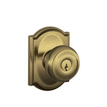 Schlage F51-GEO-CAM Georgian Keyed Entry Door Knob Set with Camelot Rose (609)