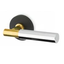 Emtek Select T-Bar Faceted Lever with Black Disk Rose, Unlacquered Brass T-Bar and Polished Chrome Lever
