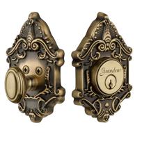Granduer Grande Victorian Single Cylinder Deadbolt PB Vintage Brass