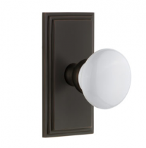 Grandeur Hyde Park Door Knob Set with Carre Short Plate Timeless Bronze