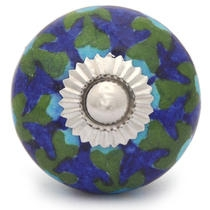 PotteryVille Turquoise Flower and Green leaf with Blue Base Cabinet knob