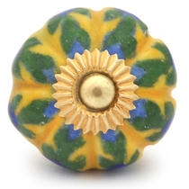 PotteryVille Blue Flower and Green Leaf with Yellow Base Cabinet Knob