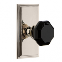 PolisGrandeur Lyon Crystal Door Knob Set with Carre Shortplatehed Nickel