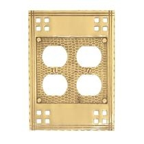 Brass Accents M05-S5660 Arts and Crafts Double Outlet Plate
