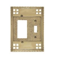 Brass Accents M05-S5671 Arts and Crafts Double - Single Switch/Single GFCI Plate