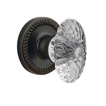 Grandeur Burgundy Crystal Door Knob Set with Newport Rose Timeless Bronze