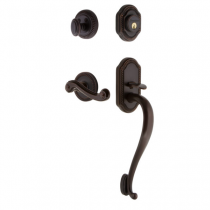 Grandeur Newport Handleset shown with Newport Lever in Timeless Bronze (TB)