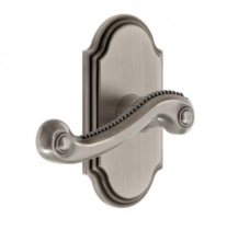 Grandeur Newport Lever Set with Arc Short Plate Anique Pewter
