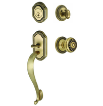 Grandeur Newport Handleset shown with Parthenon Knob in Vintage Brass (VB)