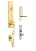 Omnia Regal Entrance Handleset Polished Brass (US3)/Polishe Chrome (US26D)