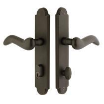 Emtek 4442 Sandcast Bronze Arched Style Stretto Narrow Trim Keyed Sideplate
