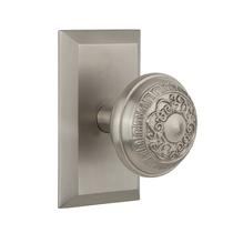 Nostalgic Warehouse Studio Plate with Egg and Dart Knob Satin Nickel