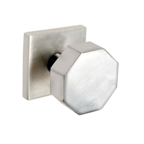 Emtek Stainless Steel Octagon Door Knob Set with Square Rose