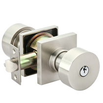 Emtek Round Keyed Entry Door Knob with Square Rose Satin Nickel (US15)
