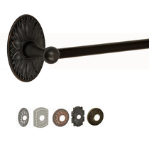 Fusion Designer Towel Bar with Oval Floral Rose Oil Rubbed Bronze