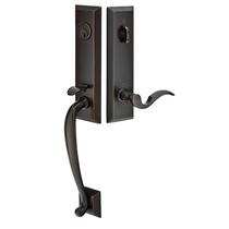 Emtek 4414, 4424, 4404 Adams Handleset with Cortina Lever Oil Rubbed Bronze