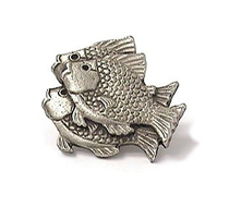 Emenee OR210 School of Fish (Left) Cabinet Knob shown in Antique Matte Silver