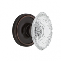 Nostalgic Warehouse Crystal Victorian Knob Set with Classic Rose Timeless Bronze