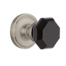 Nostalgic Warehouse Waldorf Black Crystal Knob Set with Classic Rose Satin Nickel