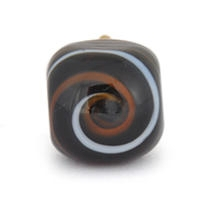 PotteryVille White and Brown Swirl on a Black Glass Knob