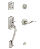 Schlage F60 Camelot Handleset w/Accent Lever in Satin Nickel (619)