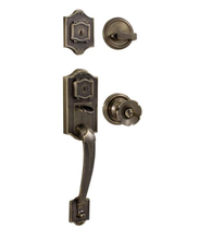 Weslock Colonial 1300 handleset with Eleganti Knob Antique Brass