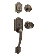 Weslock Colonial 2100 handleset with Eleganti Knob Antique Brass