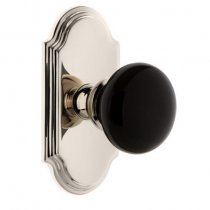 Grandeur Coventry Porcelain Door Knob Set with Arc Shortplate Polished Nickel
