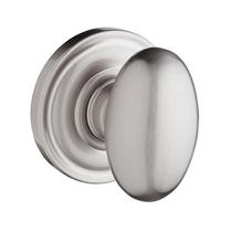 Baldwin Reserve Ellipse Knob with round rose (TRR) shown in Satin Nickel (150)