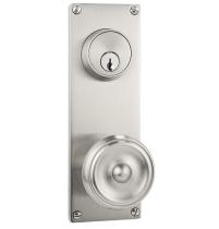 "Emtek 8012, 8112, 8212 Modern 7-1/8"" Keyed Sideplate with Waverly knob"