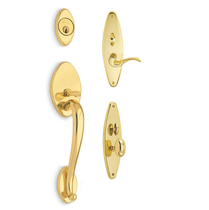 Omnia Estate Entrance Handleset Polished Brass (US3)