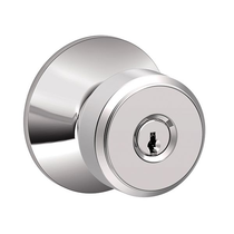 Schlage F51ABWE625 Bowery Keyed Entry DoorKnob Set Bright Chrome