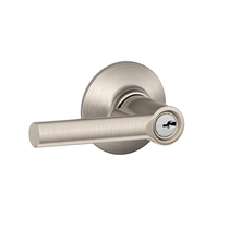 Schlage F51-BRW-619 Broadway Keyed Entry Door Lever Set Satin Nickel
