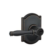 Schlage F51BIR716CAM Birmingham Keyed Entry Lever Set with Camelot Rose