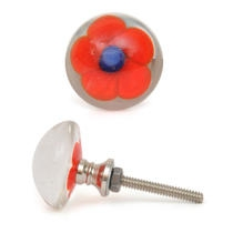 PotteryVille Red Flower with Blue Center Glass Knob